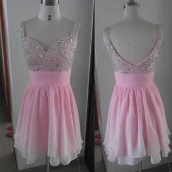 Cute Pink Spaghetti Strap Fully Beaded Bodice Chiffon Homecoming Dress 2015, Short Prom Dress 2015, Formal Dresses, Party Dresses