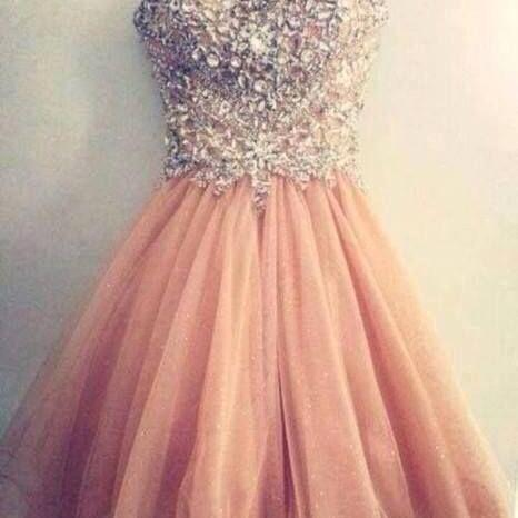 Pretty Tulle Spark Mini Light Pink Sweetheart Prom Dress , Handmade Custom Made Prom, Formal Dresses, Homecoming Dresses