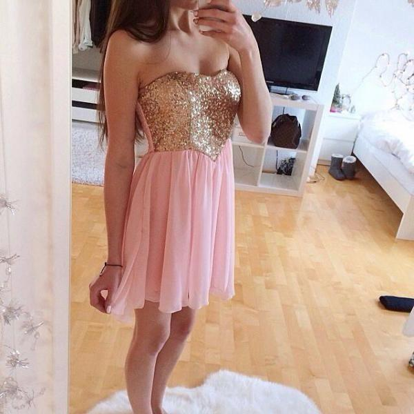 Handmade Sparke A-Line Short Pink Chiffon With Sequins, Short Prom Dresses, Homecoming Dresses, Graduation Dresses
