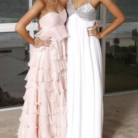 Custom Long Blusn Pink Chiffon Ruffled Prom Gown 2016, PromDresses,Pink Bridesmaid Dresses,Cute Formal Dresses,Eveening Dresses