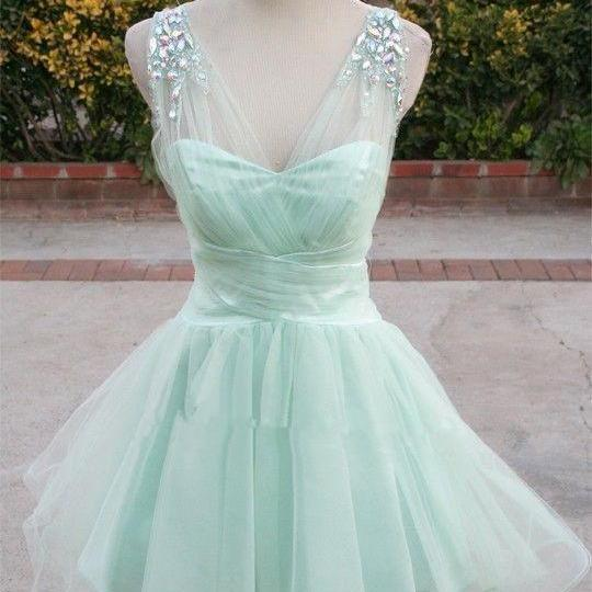 Cute Tulle Mint Prom Dress 2016, Mint