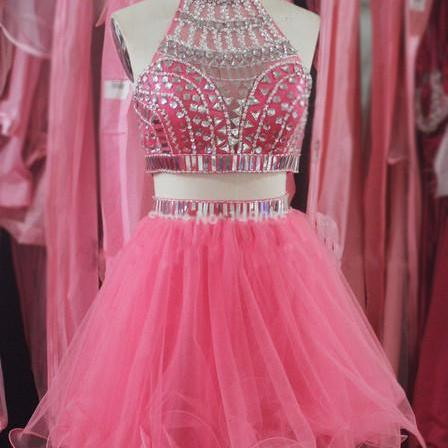 High Quality New Style Two Piece Short Prom Dresses,Beading Homecoming Dresses, Party Dresses, Homecoming Dresses, Graduation Dresses On Sale