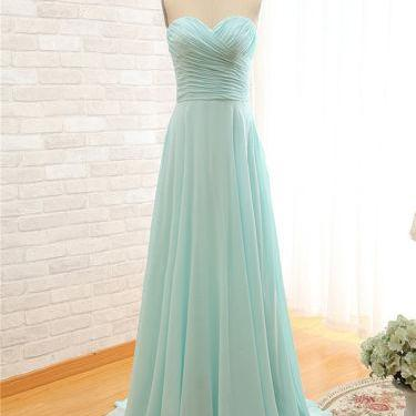 Simple Mint Blue Chiffon Floor Length Bridesmaid Dress with Ruched Sweetheart Bodice and Lace-Up Back