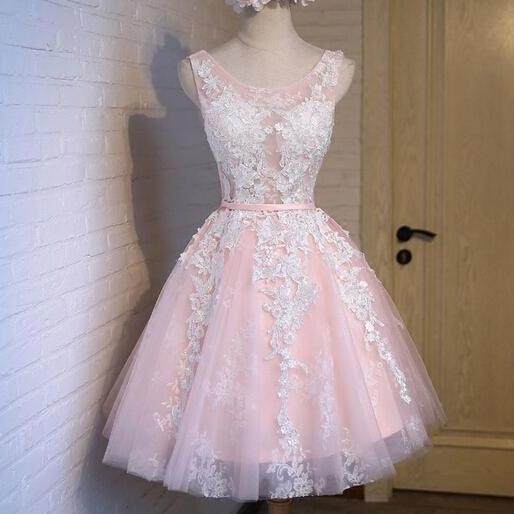 Cute Light Pink Tulle Handmade Short Prom Dress with Lace Applique, Pink Homecoming Dresses, Lovely Graduation Dresses