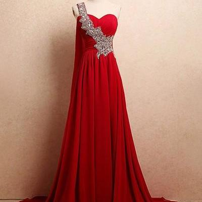 Beautiful Red Chiffon One Shoulder Long Sweetheart Prom Dresses, Long Prom Dresses 2017, Evening Dresses