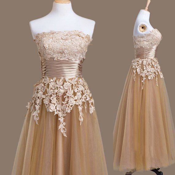 Champagne Tea Length Tulle Homecoming Dress Featuring Lace Appliqués Straight Across Bodice