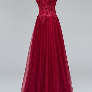 Burgundy Off-the-shoulder Floor-length Tulle Prom Dress with Lace Appliqué Overlay