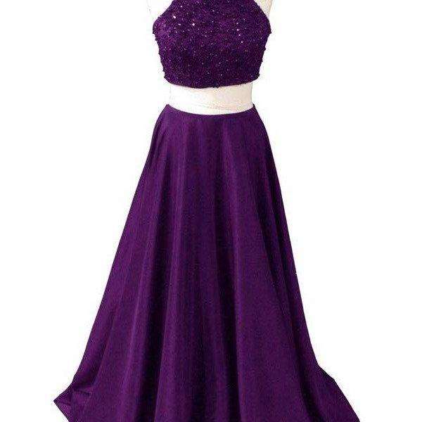 Custom Made Dark Purple Two Piece Halter Satin Prom Dresses Pro On Luulla