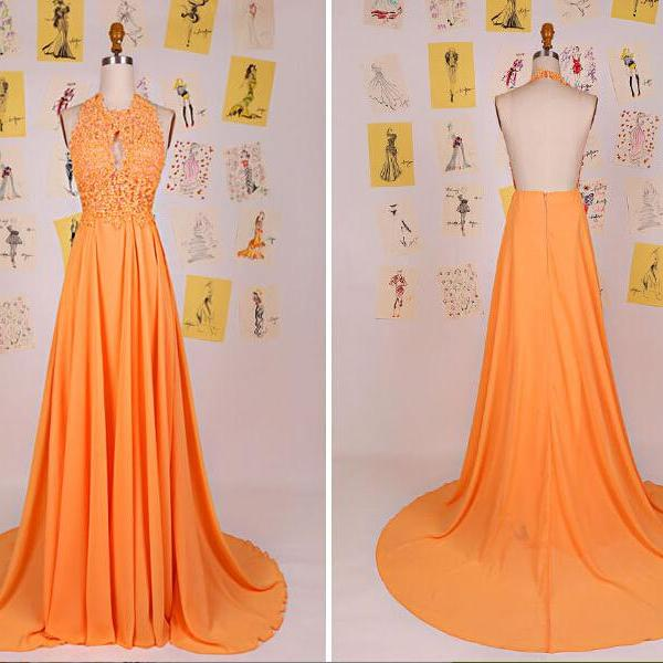 New Fashion Halter Bright Orange Backless Floor Length Party Dresses, Halter Prom Dresses 2017, Chiffon Long Party Dresses