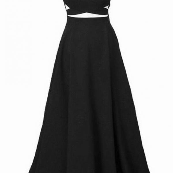 Pretty Black V-neckline Straps Chiffon Floor Length Prom Dresses, Black Party Dresses, Evening Gowns