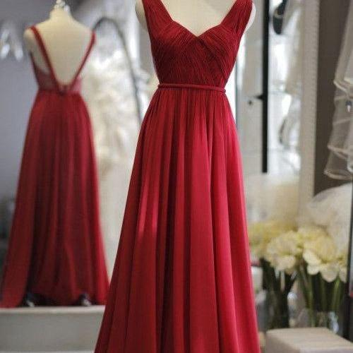 Gorgeous Wine Red Backless Straps Party Dresses, Wine Red Chiffon Long Formal Dresses, Burgundy Evening Gowns