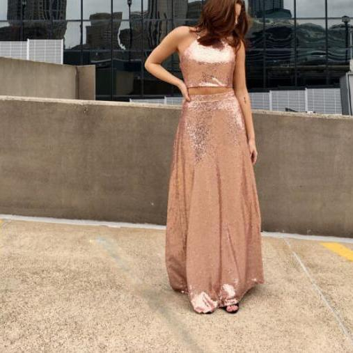 Stylish Halter Gold Two Piece Sequins Party Dresses, Two Piece Formal Dresses, Homecoming Dresses