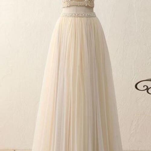Charming Two Piece Formal Dresses, Two Piece Party Gowns, Evening Dresses, Tulle Prom Dresses