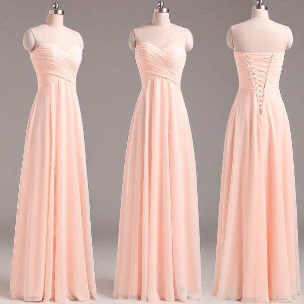 Simple Lace-up Back Long bridesmaid Dress, Pearl Pink bridesmaid Dress, Wedding Party Dresses