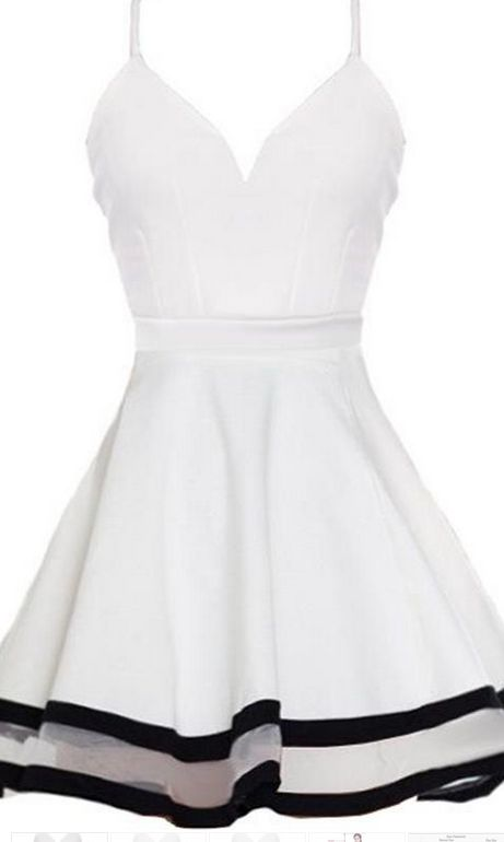 d07c3192612 White Spaghetti Strap Mini Graduation Dresses