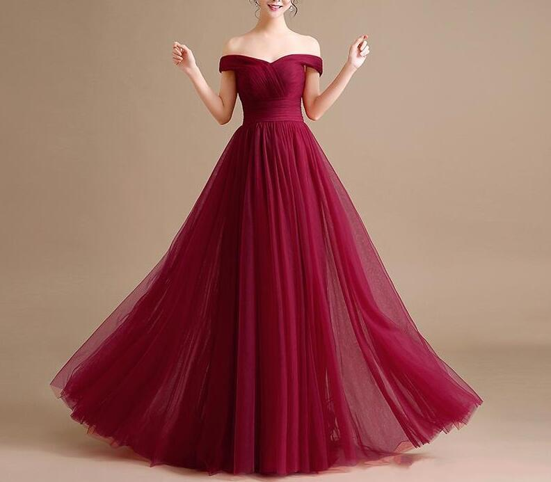 5346a531b0bf Wine Red Long Tulle Off Shoulder Gowns