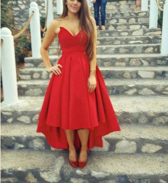 57ad312667 Red Sweetheart High Low Satin Homecoming Dresses