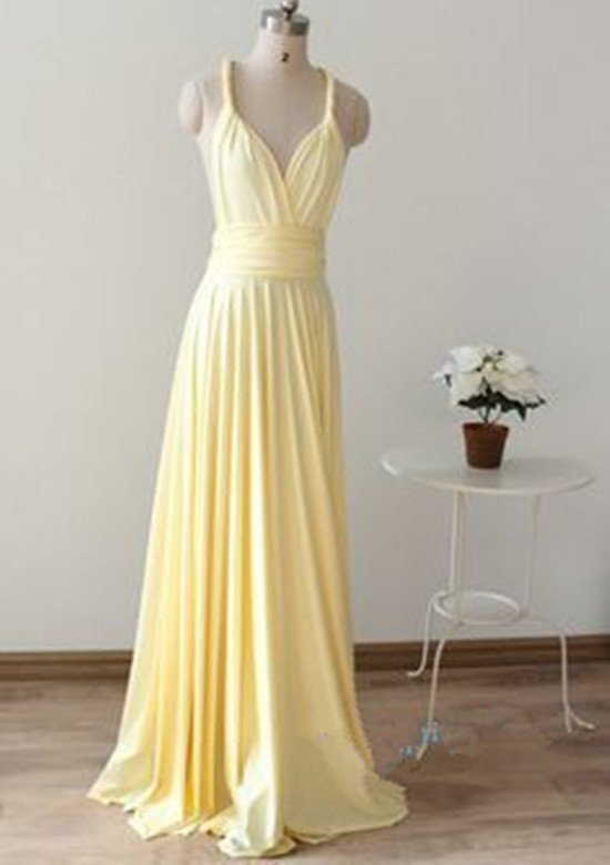 Sexy Light Yellow Bridesmaid Dresses Simple Bridesmaid