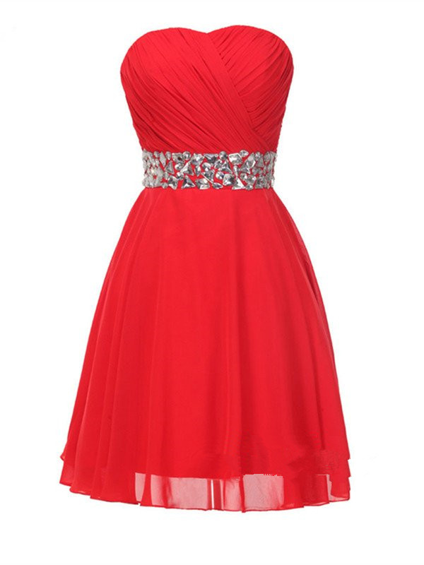 cc29042c03de Red Chiffon Beaded Knee Length Prom Dresses, Red Homecoming Dresses, Teen  Fashion Formal Dresses
